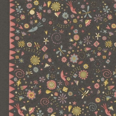 Hatched and Patched - Garden Whimsy - Charcoal Large Floral Border