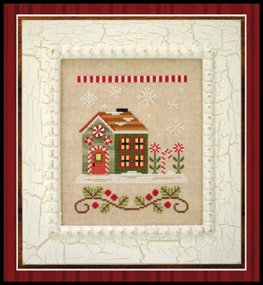 Country Cottage Needleworks - Santa's Village #8 - Candy Cane Cottage