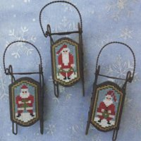 Foxwood Crossings - Sled Ornaments - Santa Folk