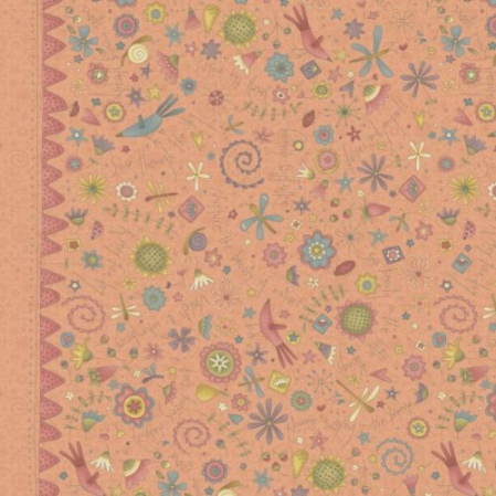 Hatched and Patched - Garden Whimsy - Peachy Pink Large Floral Border