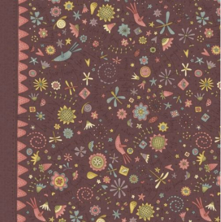Hatched and Patched - Garden Whimsy - Raisin Large Floral Border