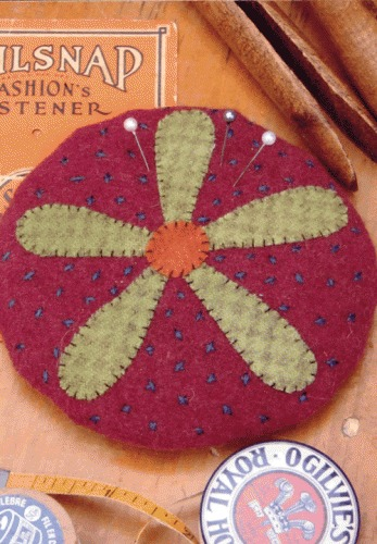 Hatched and Patched - Lazy Daisy Pincushion
