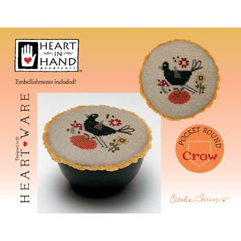 Heart in Hand Needleart - Pocket Round - Crow