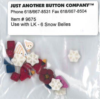 Just Another Button Company - 6 Snowy Belles Button Pack