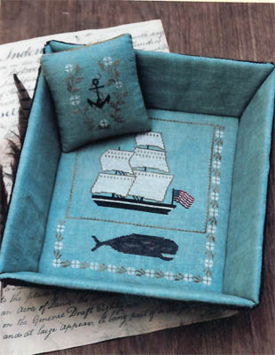 Stacy Nash Primitives - Whaling Ship Sewing Tray and Pinkeep