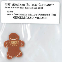 Just Another Button Company - Gingerbread village #2 - Gingerbread Girl and Peppermint Tree button pack