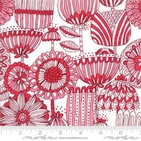 Moda - Just Another Walk in the Woods - Funny Flower Red Cream